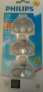 3 Philips MR16 Halogen Bulbs 12V 20W GU5.3 Flood Reflector Dimmable Light Sparkl