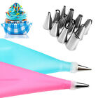 Silicone DIY Icing Piping Cream Pastry Bags +12Nozzle Sets Cake Decorating Tools