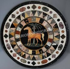 24'' Black Marble Coffee Table Top Elegant Horse Marquetry Inlaid Decor E596(1)