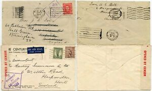AUSTRALIA WW2 CENSORED COVERS to GB 1943 SURFACE REDIRECTED + 1945 AIRMAIL
