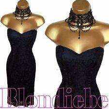 KAREN MILLEN Exquisite BLACK LACE Strapless COCKTAIL Dress UK 12