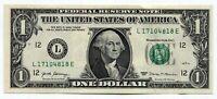 US One $1 FRN note paper dollar greenback bill - Series 2017 - L17104818E -