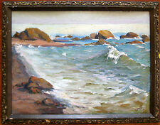 RUSSIAN SOVIET PAINTING OIL BOARD 1973 PLAIN AIR SEA LANDSCAPE N. ANISIMOV