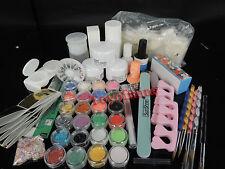 Full 25 Nail Art Acrylic Powder Primer Glitte Liquid TIP Brush Glue Dust KITS UY