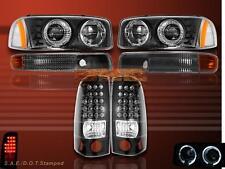 99-2003 GMC DUAL HALO PROJECTOR HEADLIGHTS BLK & BUMPER & LED TAIL LIGHTS BLACK