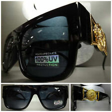 CLASSIC VINTAGE RETRO GANGSTER HIP HOP RAPPER Style SUN GLASSES Black Gold Frame