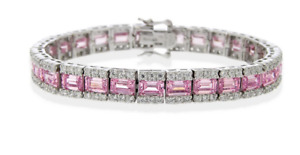 8CT Pink Ruby Yellow Citrine & Aquamarine In Argentium Silver CZ Tennis Bracelet