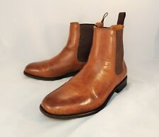Lands' End Brown Leather Pull-On Ankle Boots Men's Size 9.5 D $198