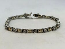 """Pre Owned 925 Sterling Silver Clear And Champagne CZ Tennis Bracelet 7"""""""