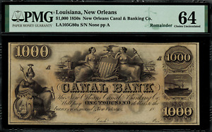 1850's $1000 Obsolete - New Orleans, Louisiana - Canal Bank - PMG 64