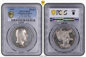 Germany Empire Bismarck 100. Birthday Silver Medal 1915 PCGS SP63 Atlas with Map
