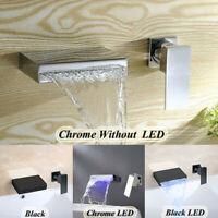 LED Matte Black Chrome Waterfall Bathtub Basin Sink Mixer Faucet 1 Handle Taps