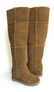 UGG CLASSIC FEMME TALL OVER THE KNEE CHESTNUT WEDGE BOOTS US 12 / EU 43 / UK 10