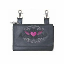 Genuine Leather Belt Bag - Hip Purse Pink Tribal Heart Biker / Motorcycle Riding