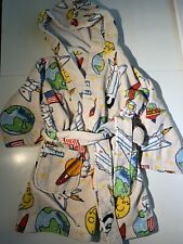 Toddler Size 2-6 Hooded Bath Robe Bullfrog and Butterflies Space Shuttle Euc