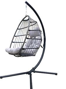 Egg Swing Rattan Indoor & Patio Garden Hanging Egg Chair w/Cushion In or Outdoor