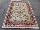 Vintage Traditional Hand Made Afghan Zigler Oriental Wool Beige Carpet 237x170cm