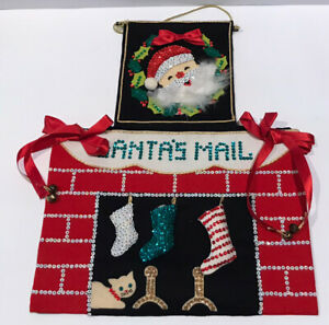 Vintage Felt Sequin Mail Santa Claus Wall Hanging Christmas Card Cat Midcentury