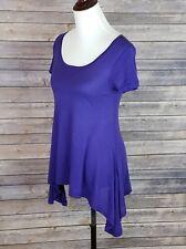 Splendid Womens Top S Short Sleeve Scoop Neck Cotton Blend Half Moon Hem Purple