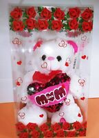 "White Teddy Bear w/ Pink Heart 9"" Mother's Day Birthday Gift with Display Case"