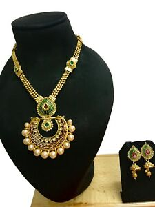 Indian Gold Plated Bridal Wedding Necklace Costume Jewelry Earrings Set