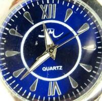 JM Blue Face Silver Tone Stainless Steel Quartz Analog New Battery Men Watch