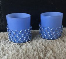 Set Of Votive Candle Holders Blue Silver With Beads