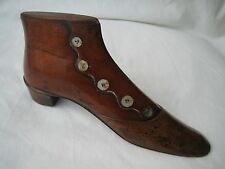 18th Century Treen Carved Model Shoe with Inlaid Mother of Pearl Buttons