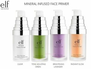 ELF Mineral Infused Face Primer- Clear/ Green/ Radiant Glow/ Hydrating/ Blemish