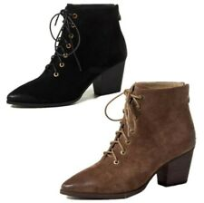 Retro Women's Suede Fabric Pointy Toe Zip Up Ankle Boots Block Mid Heel Shoes L