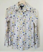 J Crew Womens White French Travel Print Popover Henley Blouse Top Shirt Size 00