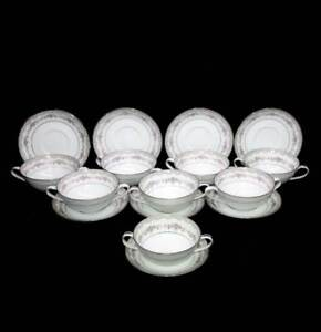 Vintage Noritake Glenwood grey & pink roses set of 8 soup coupes & liners