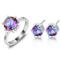 75% OFF New Rainbow Mystical Topaz Silver Earrings Ring Wedding Jewelry Set