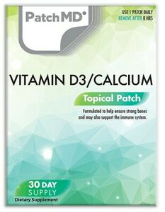 New Formula! PatchMD Vitamin D3 Calcium Patch 30-patches Patch-MD VD/C