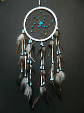 NEW WHITE DREAM CATCHER TURQUOISE STONES BEDROOM NURSERY WEDDING DREAMCATCHER