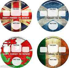'NATIONS' TAX & MOT DISC REMINDER CARS/VANS/CAMPERS SELF ADHESIVE/WATERPROOF