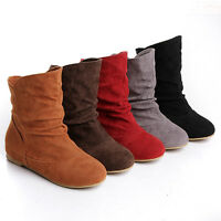 Women ladies flat low heel round toe faux suede slouch ankle boots pull on shoes