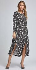 Dorothy Perkins-Petite Negro/rubor Daisy Print vestido Midi-Talla 10-Bnwt