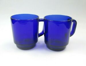 Arcoroc France Simplicity Cobalt Blue Glass Mugs Set Of 2, Coffee Mug Tea Cup