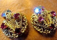 VINTAGE WEST GERMANY GOLD TONE FILIGREE PINK AURORA BOREALIS RHINESTONE EARRINGS