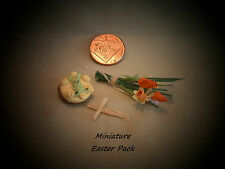 DOLLS HOUSE MINIATURE SIMNEL CAKE, PALM CROSS & BOUQUET OF SPRING FLOWERS