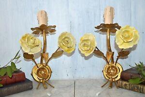 Vintage Italian Pair Sconces Light Fixtures Porcelain Roses Gilded Tole