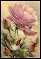 Rose and Bird - DIY Chart Counted Cross Stitch Pattern Needlework DMC Color
