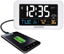 AcuRite Intelli-Time Alarm Clock with USB Charger, Indoor Temperature and Humidi