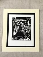 1960 Vintage Juif Art Imprimé Mi Siècle Moderne Judaïque Noir & Blanc Judaïsme