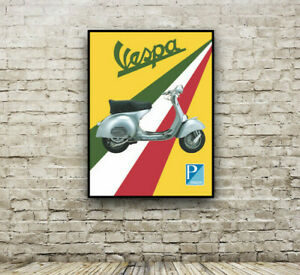 Vespa Scooter Vintage Poster print / Piaggio / Italy / Italian / Wall Decor Art