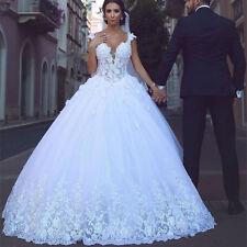 Neu A-Linie Spitze Applikation Brautkleider Hochzeitskleid Ballkleid Abendkleid