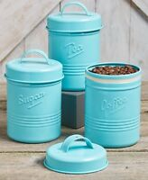 Vintage Style Kitchen Small Metal Canisters Teal Blue 3-Pc Coffee Sugar Tea