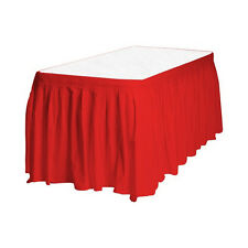 """2 Plastic Table Skirts 13' X 29"""" Streches-19' - Red"""