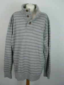 Mens Fat Face grey striped Sweatshirt casual jumper top size XL ex condition